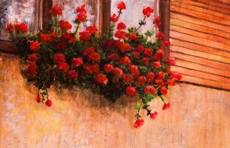 carmine: red geranium flower in village house window, painting detail.