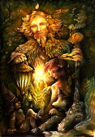 golden bosfee beschermergeest, gedetailleerde illustratie.