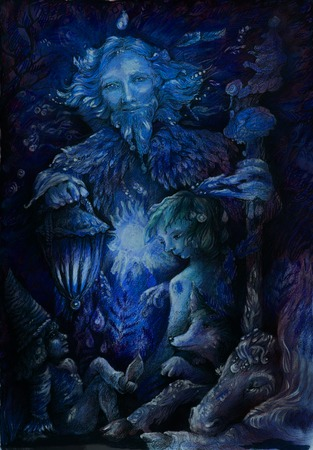 woodland quardian at night with fairy beings, illustration.