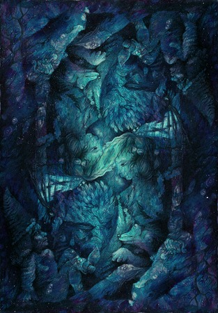 elemental: background pattern with dwarves and fairy elemental motives, drawing.