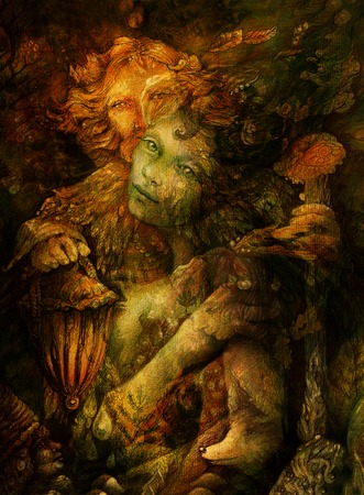 wiccan: two beautiful forest beings, colorful detailed illustration.