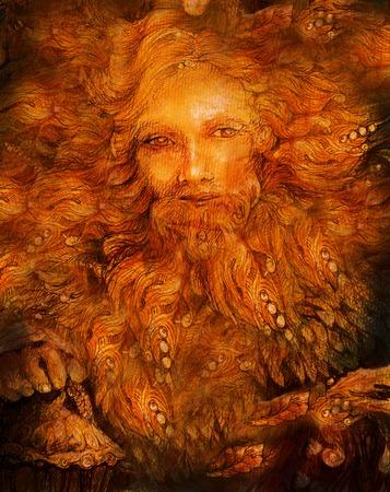 wiccan: sunny mythologic dwarf lightbringer, colorful fairy illustration. Stock Photo
