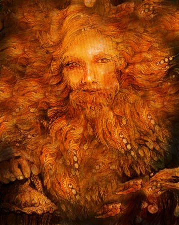 elven: sunny mythologic dwarf lightbringer, colorful fairy illustration. Stock Photo