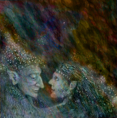 wiccan: two beautiful fairies couple on abstract space background.