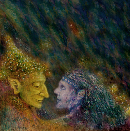 wicca: two beautiful fairies couple on abstract space background.