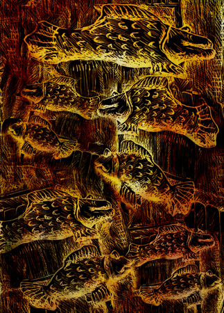 emanating: swimming golden fishes, illustration on abstract background. Stock Photo