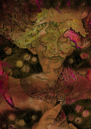 newage: dreamy secession style portrait of fairy, illustration.