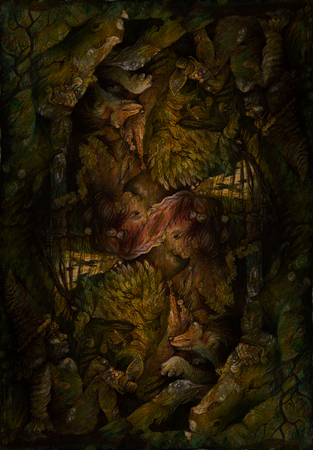 lampe: background pattern with dwarves, animals and forest elemental motives, drawing. Stock Photo