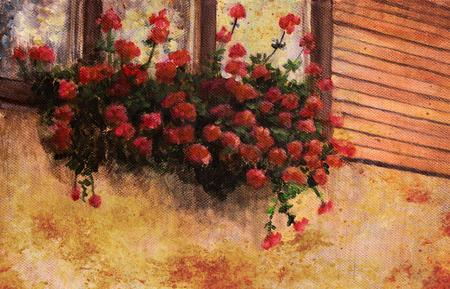 red geranium flower in village house window, painting detail.