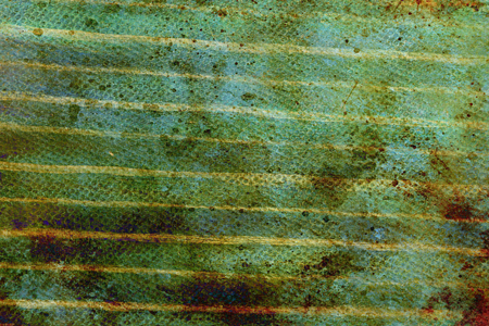 trencher: detail of wooden horizontal batten cover on house, painting. Stock Photo
