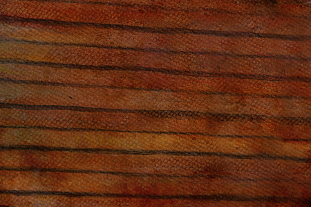 detail of wooden horizontal batten cover on house, painting. Stock Photo