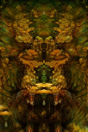 subconsciousness: detailed abstract background with ornamental structure, graphic illustration. Stock Photo