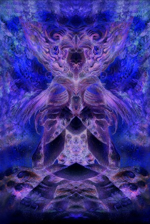 subconsciousness: abstract background collage with psychedelic motive in blue violett tones. Stock Photo