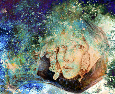 elven: fantasy painting of fairy face coming out of flower. Stock Photo