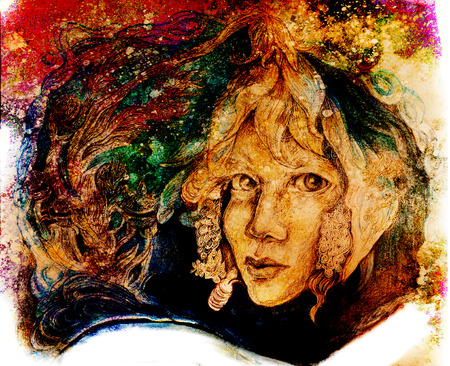 character abstract: flower fairy face portrait in autumn colors.
