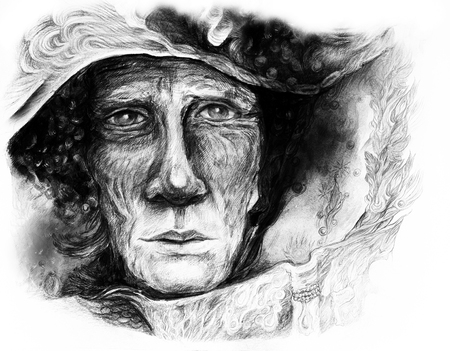 contact details: Old story teller telling a faiy tale from an enchanted book, fantasy monochromatic drawing. Stock Photo