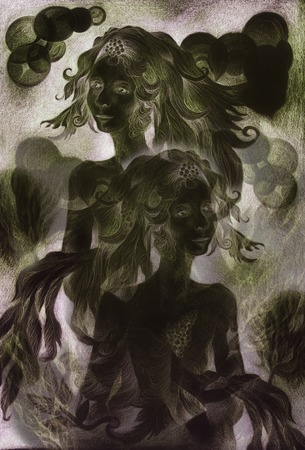 elemental: night fairies at the dawn , monochromatic drawingcollage.