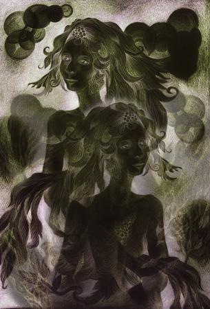 enchantress: night fairies at the dawn , monochromatic drawingcollage.