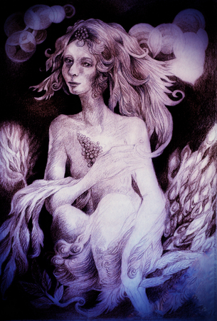enchantress: beautiful gentle white fairy coming out at the dawn.