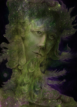 prophet: green nature spirit - the wind prophet with feathers, drawing.