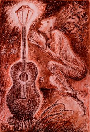 elven musician adoring a light of guitar, drawing.