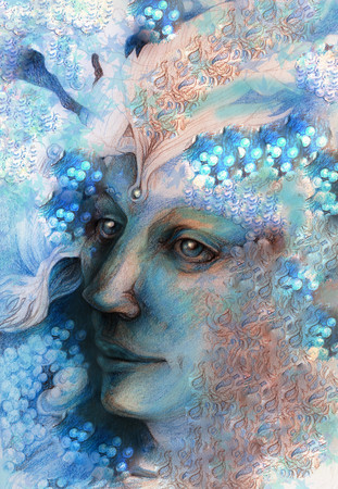 wiccan: elven man face with pearls and ornaments, drawing. Stock Photo