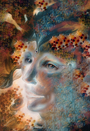 wiccan: elven man face with pearls and ornaments in autumn colors.