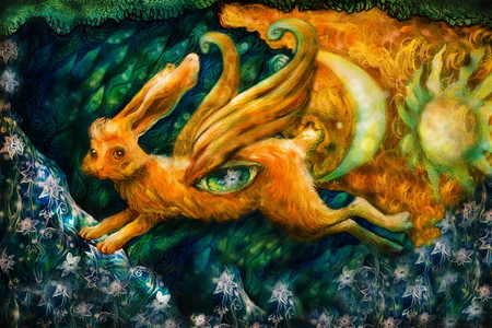 illustrated: golden hare flying in enchanted realm with moon and sun, colorful painting. Stock Photo