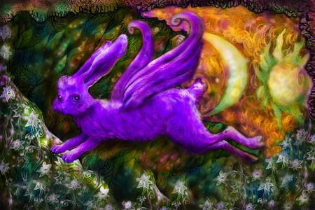lunatic: violett flying dreamy rabbit in fairy-tale land, illustration.