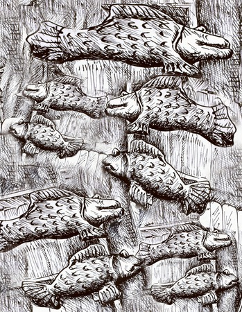labridae: many black and white fishes, fish pattern drawing. Stock Photo