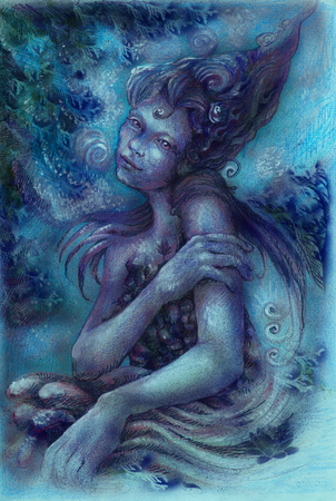 nocturnal: magical beautiful nocturnal elven fairy, colorful drawing.