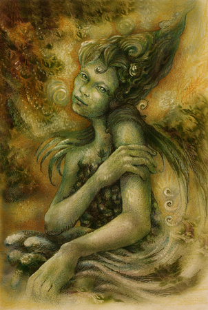golde: magical beautiful water elven fairy, colorful drawing.