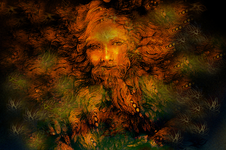 wiccan: golden forest fairy guardian spirit, detailed illustration.