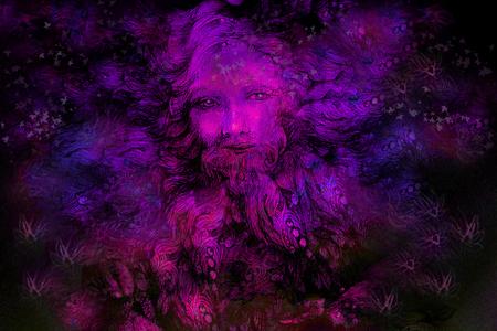 wiccan: violett purple fairy dwarf spirit, colorful illustration. Stock Photo