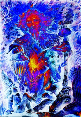 fairy guardian in winter bringing light and fire of life, illustration.
