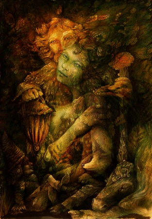 realm: two elves deep inside enchanted nature realm, illustration.