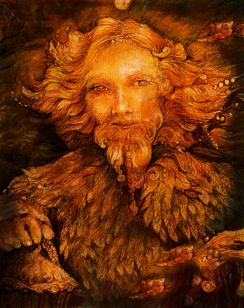 guardian: sunny fairy forest guardian spirit with lantern, illustration.