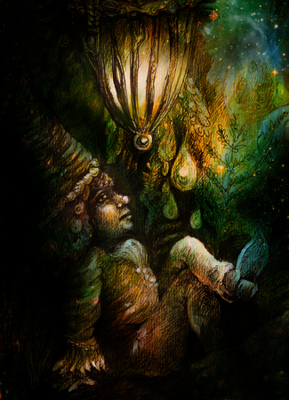 dwarf: little forest dwarf living under leaves, colorful illustration.