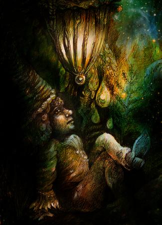 wiccan: little forest dwarf living under leaves, colorful illustration.
