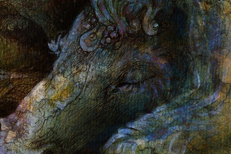 elemental: detail of sleeping unicorn head, ornamental drawing.