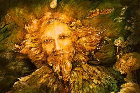 druid: golden forest fairy guardian spirit, detailed illustration.