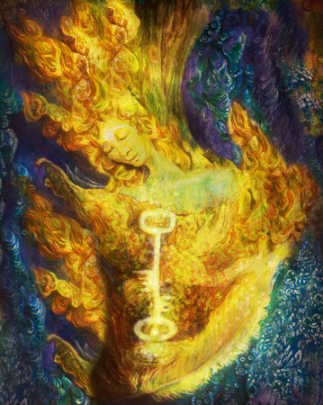 guardian: golden fire fairy guardian in forest, colorful painting.