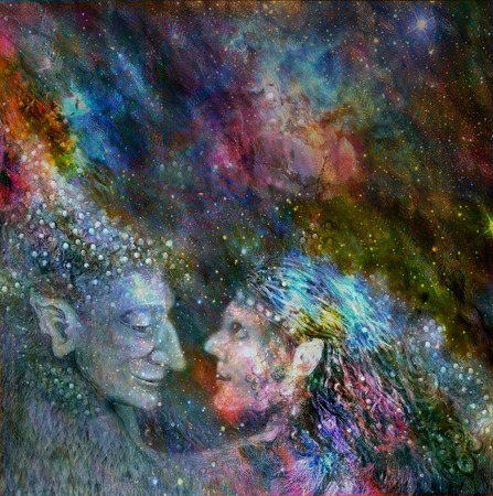shamanism: fairies couple talking to each other, colorful illustration. Stock Photo