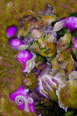 wiccan: green fairy creature painting with detailed abstract structures.