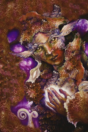 sienna: fairy creature painting with healing energy and detailed abstract structures. Stock Photo