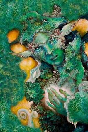 energy healing: emerald green fairy creature painting with healing energy.