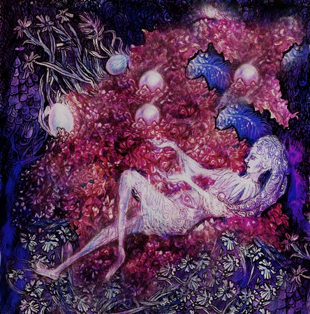 lila: Beautiful fantasy painting of lilac flower fairies, detailed colorful artwork.