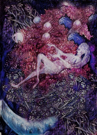painting of lilac flower fairies, detailed colorful artwork.