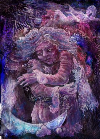 elemental: contemplative dreamy lilac fairy sitting by moon, artwork.
