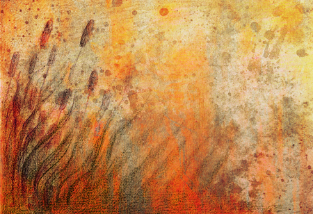 moor: colorful drawind of reeds on abstract spotted background.